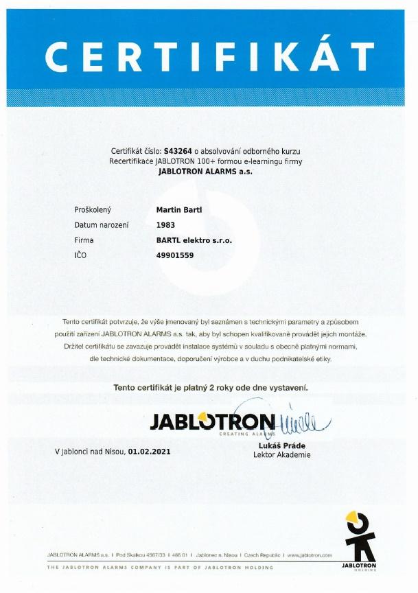 Jablotron osvědčení